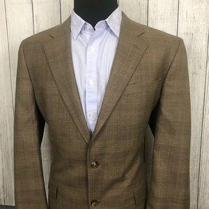 Jos A Bank 44L Brown Glen Check Wool Sports Coat